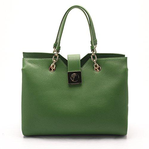 Versace Collections Women Pebbled Leather Top Handle Handbag Satchel Green