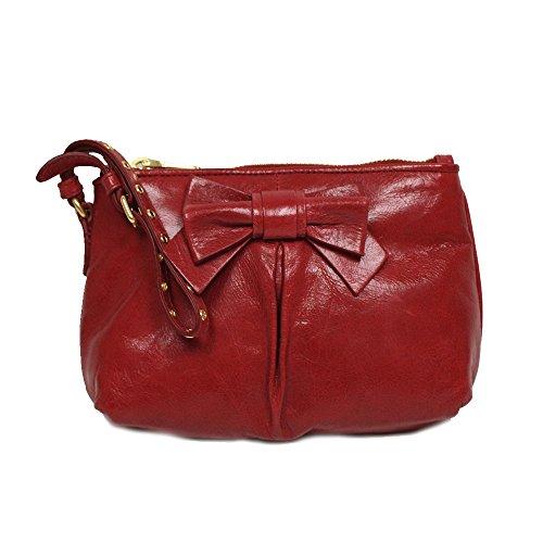 Miu Miu Prada Vitello Lux Dark Pink Leather Bow Wristlet Evening Clutch Bag 5N1681