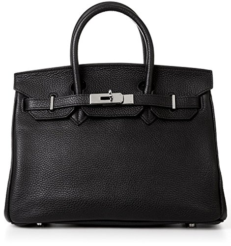 Designer Handbag Caty 14″ Black Leather Satchel with Silver Hardware & Shoulder Strap Made in Italy