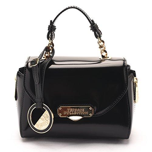 Versace Collections Women Patent Leather Crossbody Clutch Handbag Black