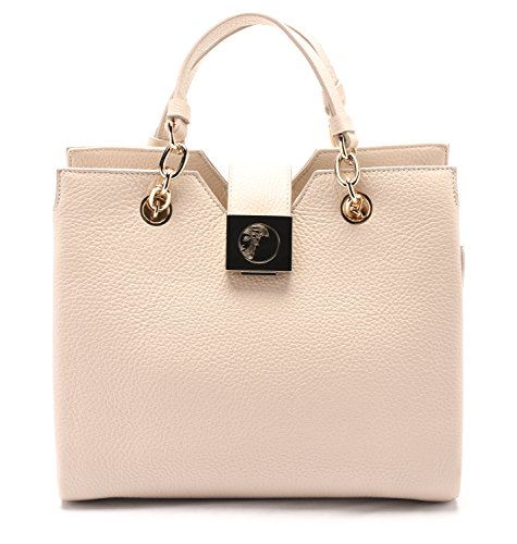Versace Collections Women Pebbled Leather Top Handle Handbag Satchel Taupe