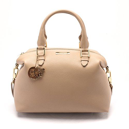 Versace Collections Women Pebbled Leather Top Handle Shoulder Handbag Satchel Tan