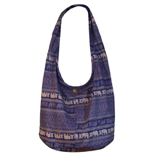 Thai Monk Buddha Cotton Thai Elephant Sling Crossbody Messenger Bag Shlouder Purse Hippie Hobo Color Dark Blue Free Shipping