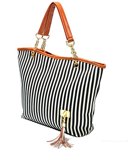Ginasy Fashion Canvas Tote Bag Stripe Chain Portable Shoulder Handbags