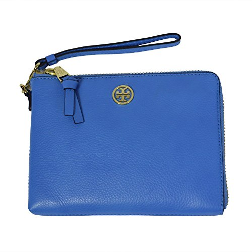 Tory Burch Wallet Robinson Large Wristlet Leather Zip Closure Caribbean Blue