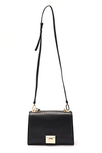 Versace Collections Women Pebbled Leather Crossbody Clutch Handbag Black