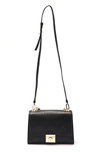 Versace Collections Women Pebbled Leather Crossbody Clutch Handbag Black