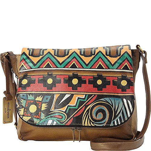 Anuschka Hand Painted Zip Around Organizer Crossbody