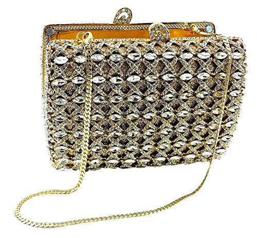 """Antoinette-Gold"" Marquise Cut Diamond Studded Designer Hard Case Clutch/Evening Purse with Concealable/Removable 10″ Snake Chain, Magnetic and Kiss-lock Closures, Silver Hinges and Pedestal Feet. Leather Inner Lining."