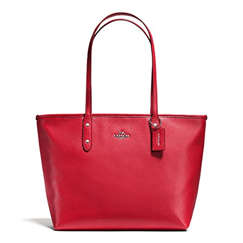 COACH Women's Pebbled City Zip Tote SV/True Red Tote