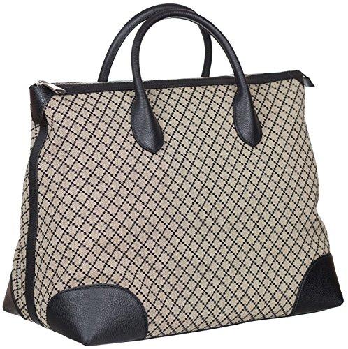 Gucci Beige Blue GG Diamante Canvas Leather Zip Large Tote Bag