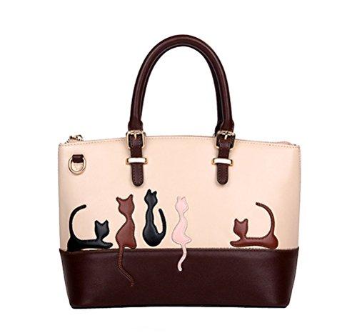 BG Women Deluxe Cute Cat Zippered Tote Style Top Handle PU Leather Satchel Handbags