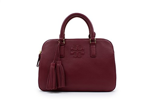 Tory Burch Thea Small Rounded Double-zip Satchel Red Agate Leather Bag