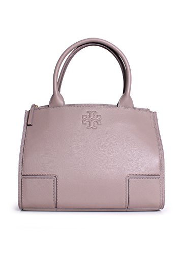 Tory Burch Ella Canvas Leather Small Tote in French Gray