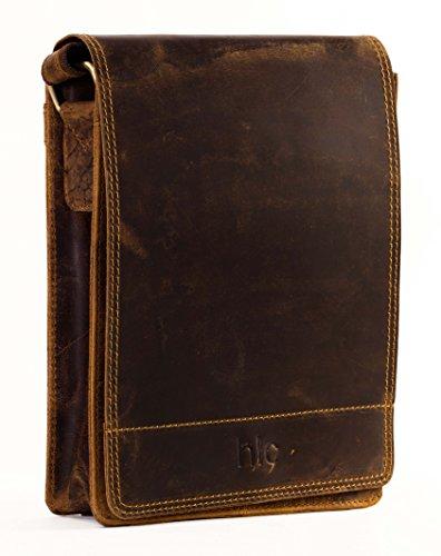 Handolederco 10″ Leather Messenger Satchel Laptop Bag for Men's and Women's Leather Satchel Laptop Messenger Unisex Ipad Mini Laptop Bag