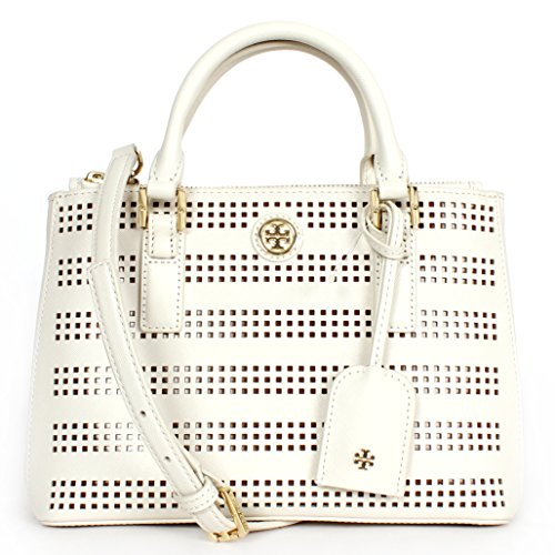 Tory Burch Robinson Double Zip Tote White Birch/ Passion Fruit, One Size