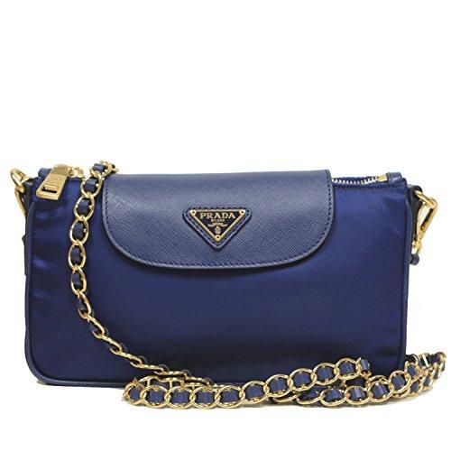 Prada Tessuto + Saffian Bandoliera Royal Blue Nylon Leather Chain Cross Body Bag Shoulder Handbag BT0779