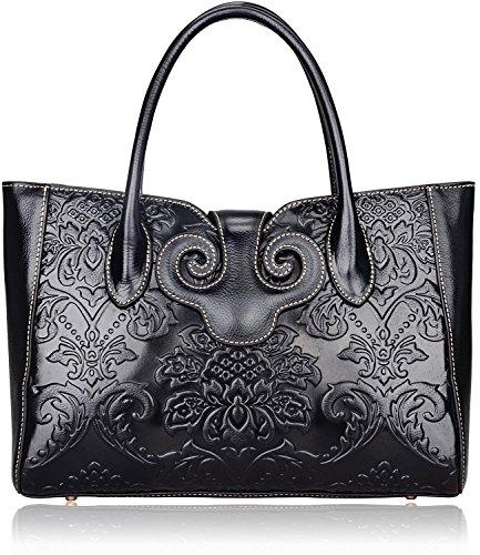 Pijushi Classic Ladies Embossed Floral Leather Tote Handle Shoulder Handbags 91776