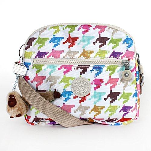 Kipling Keefe Print Shoulder Bag Crossbody Houndstooth Multicolor