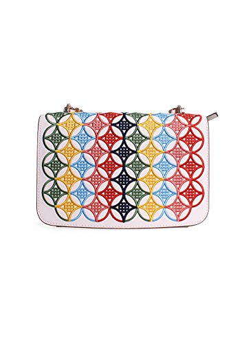 Tory Burch Robinson Embroidered Adjustable Shoulder Bag in New Ivory