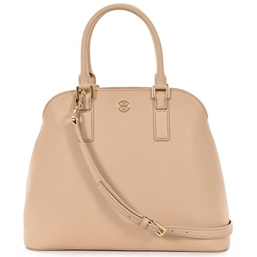 Tory Burch Robinson Open Dome Satchel Saffiano Leather – Toasted Wheat Beige