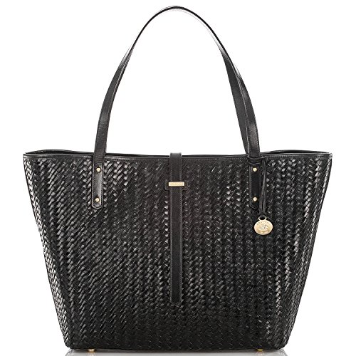 Brahmin All Day Tote Black Woven Luxe Leather