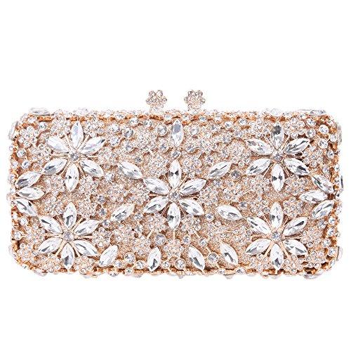 Fawziya® Bling Kiss Lock Baguette Purse Rhinestone Crystal Flower Clutch Bag
