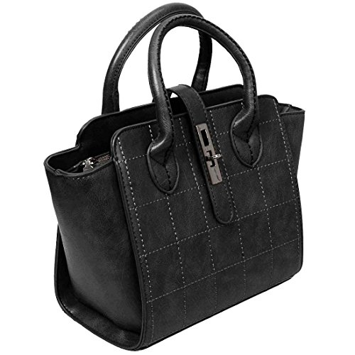 BMC Womens Stitched Pattern Faux Leather Double Top Handle Fashion Handbag