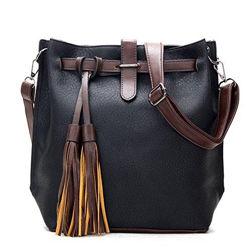 Konalla Retro Bicolor Tassel High Capacity Women's Shoulder Handbags