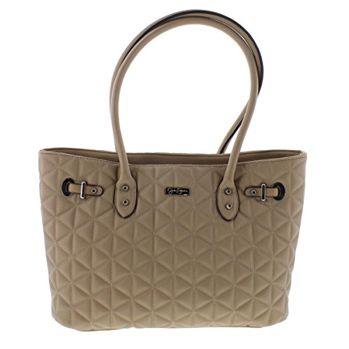 Jessica Simpson Womens Nicky Faux Leather Quilted Tote Handbag