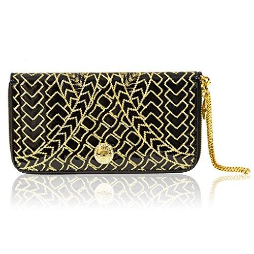 Valentino Orlandi Italian Designer Black/Gold Embroidered Leather Wallet Clutch