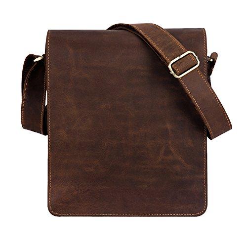 Kattee Vintage Look Cow Leather Flapover Laptop Messenger Bag