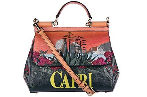 Dolce&Gabbana women's leather handbag shopping bag purse dauphine sicily capri o
