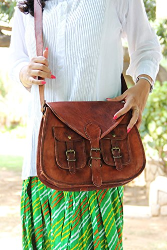 14 Inches Rugged- Chic Distressed Leather Women Sling Bag Tote Crossbody Bag