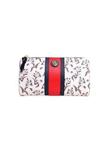 Tory Burch Kerrington Wallet Coral Cape Crossbody New White Red Navy