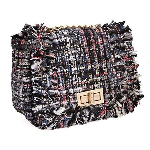 BMC Womens Cute Woven Style Texture Mini Clutch Handbag Purse