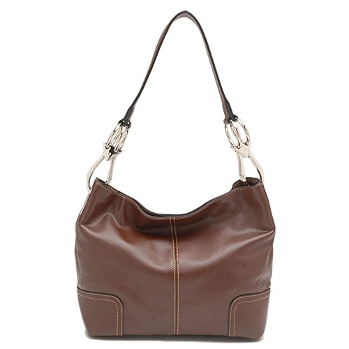 Tosca Classic Faux Leather Shoulder Purse Bag (Brown)