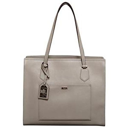 Ralph Lauren Logo Large Purse Genuine Dove Grey Leather Tote Hand Bag Lowell