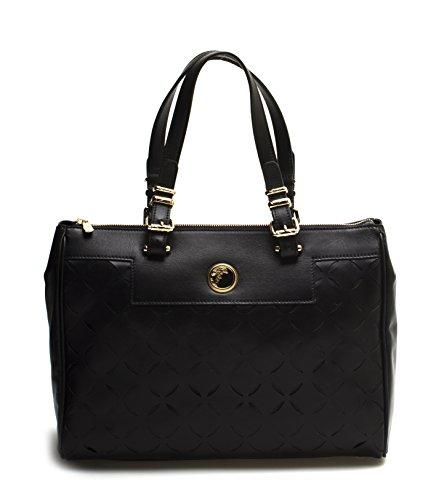 Versace Collection Women Leather Borsa Laser-Cut Tote Handbag Black