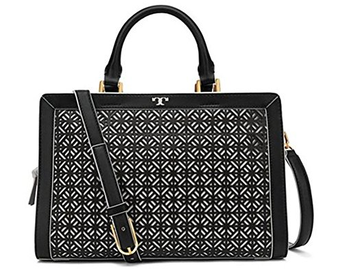 New With Tag Tory Burch Fret-T Satchel Black retail price $550