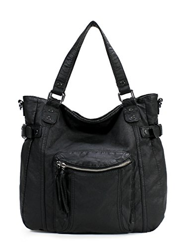 Scarleton Soft Washed Front Double Zip Tote Bag H1801