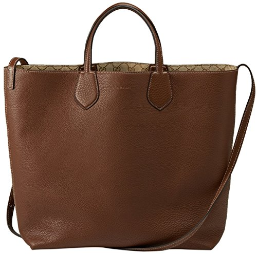 Gucci Beige Brown Original GG Canvas Leather Ramble Reversible Tote Bag