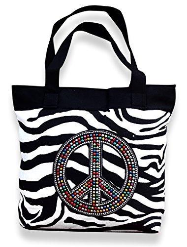 Peach Couture Womens Designer Print Large Travel Tote Handbag Shoulder Bag Purse Zebra