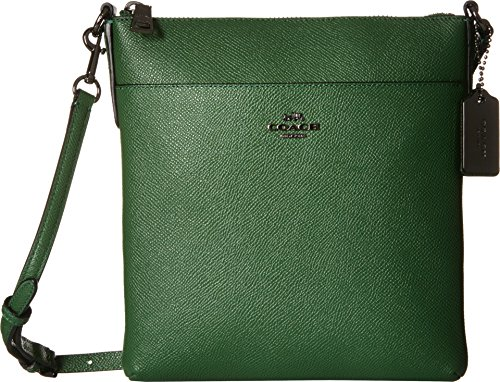 COACH Women's Embossed Textured Leather North/South Swingpack DK/Grass Cross Body