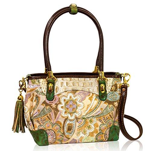 Marino Orlandi Italian Designer JAPA Printed Green Leather Tote Crossbody Bag