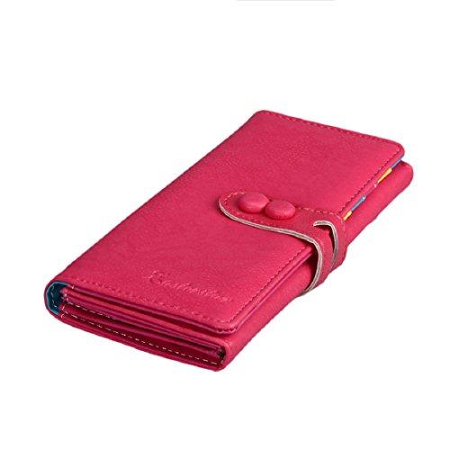 Small Women's Bi-fold Long Purse Button Clutch Wallet with Card Slotss (Hot Pink)