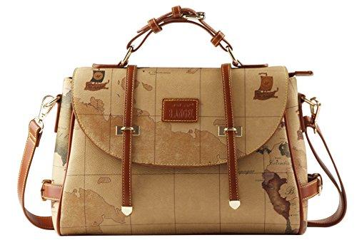 B.ANGEL® Retro Map Women Fashion PVC Leather Crossbody Handbag Shoulder Bag Purse (New722)