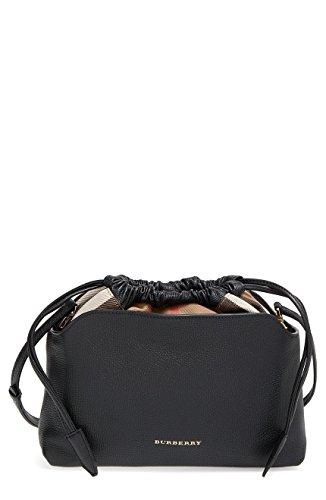 Burberry Little Crush House Check Print Leather Clutch Crossbody Bag Black