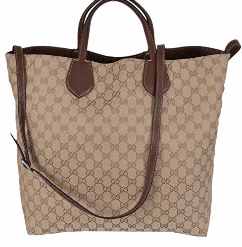 Gucci Beige Sand Canvas Leather GG Guccissima Reversible Ramble Purse Tote