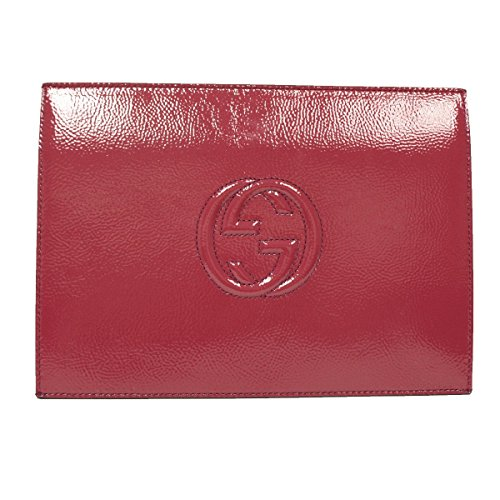 Gucci Soho Fuschia Pink Patent Leather Envelope Clutch Evening Bag 338033